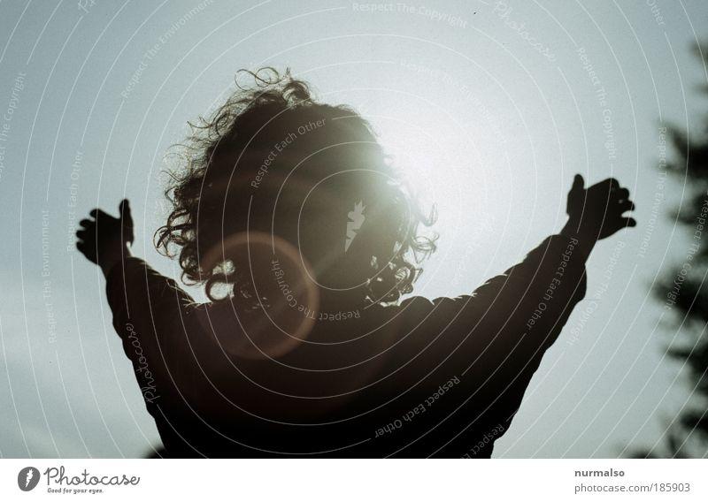 die Sonne spüren Mensch Kind Natur Hand schön Sommer Erholung Umwelt Wärme Junge Freiheit Haare & Frisuren Glück Kindheit glänzend Arme