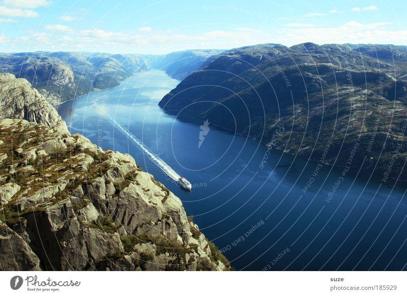 Happy Birthday, Photocase! Fjord Lysefjord Meer Norwegen Skandinavien ruhig Berge u. Gebirge Einsamkeit blau Küste Berghang Felsen Geröll Wasser frei Freiheit
