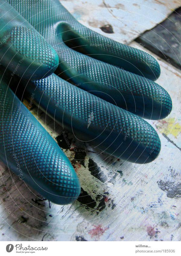 happy birthday, photocase! blau Hand grün Farbe Finger Sauberkeit Schutz Kunststoff Dienstleistungsgewerbe Printmedien Handschuhe Farbfleck Reinlichkeit Schutzbekleidung Medienbranche Werbeagentur