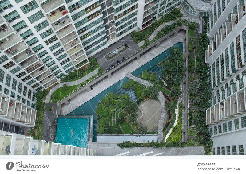 Luftaufnahme des Landschaftsbereichs außerhalb der Wohnblöcke Pflanze Stadt Baum Erholung Haus Architektur Gebäude Garten Design Wohnung Dekoration & Verzierung