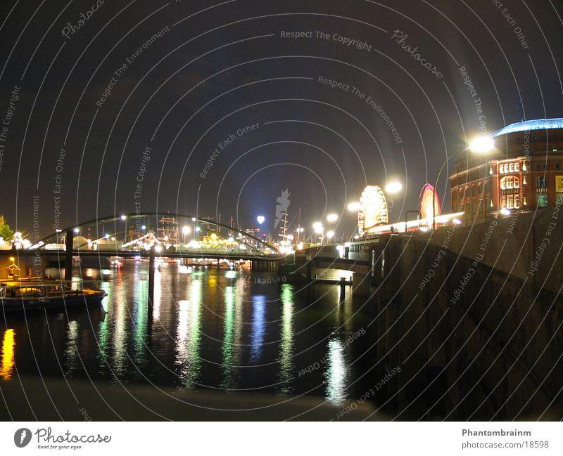 Hamburger Hafen Langzeitbelichtung Nacht Wasserfahrzeug Club Brücke