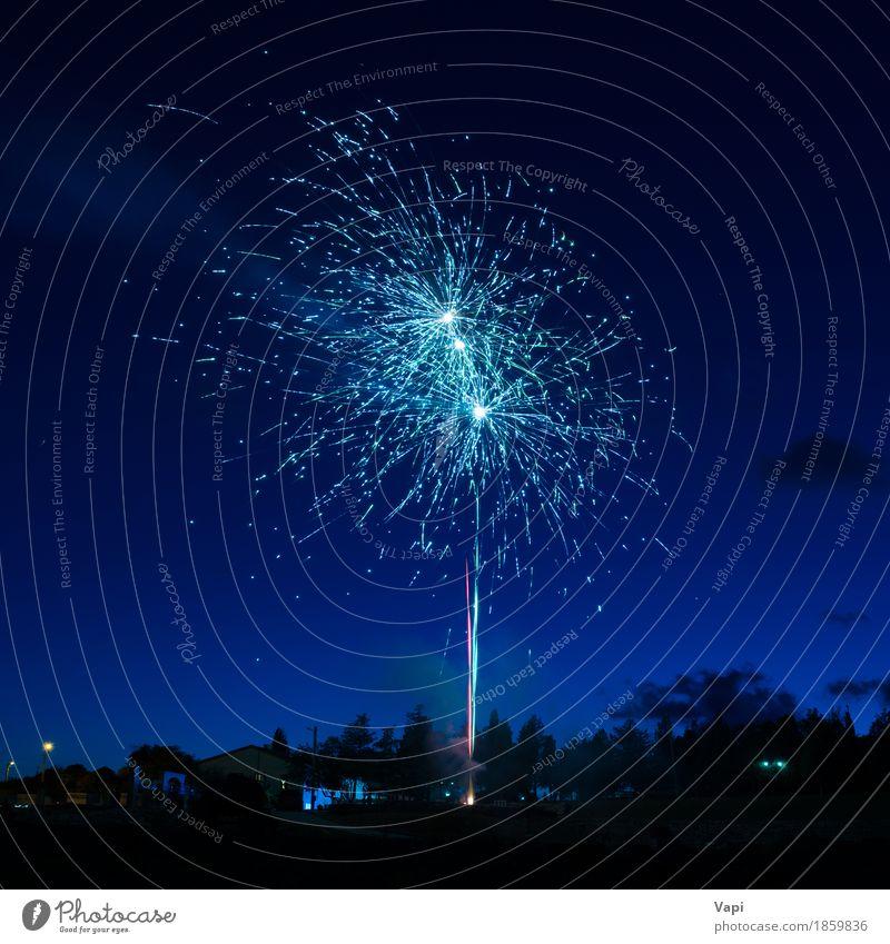 Blaue bunte Feuerwerke auf nächtlichem Himmel blau Weihnachten & Advent Farbe weiß Freude dunkel schwarz Freiheit Feste & Feiern Party hell neu Veranstaltung