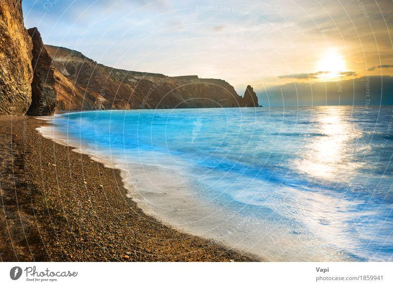 Himmel Natur Ferien & Urlaub & Reisen blau Farbe Sommer Wasser weiß Sonne Meer Landschaft Wolken Strand Berge u. Gebirge Umwelt gelb