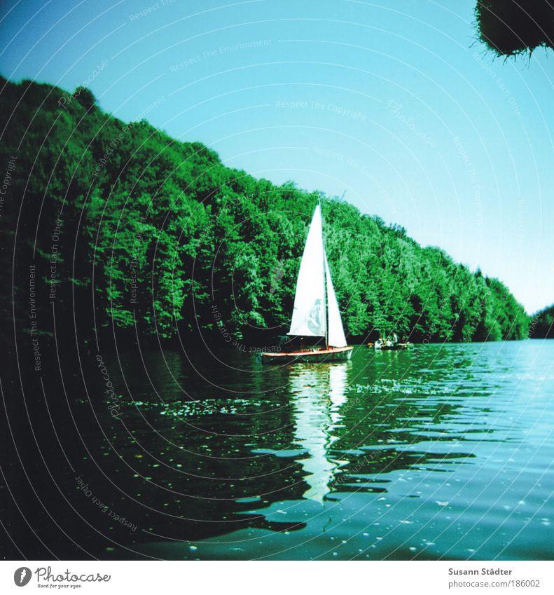 UBS ro Wasser Himmel Sommer Wald See Wellen Sachsen Silhouette Ausflug fahren Insel Fluss Freizeit & Hobby analog entdecken Segeln