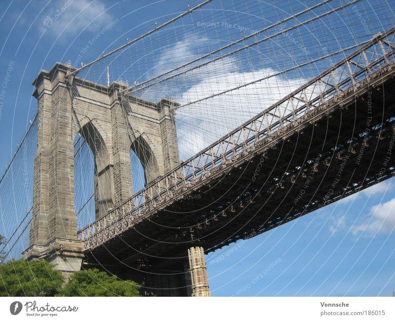 Brooklyn Bridge Himmel Ferien & Urlaub & Reisen Straße Stein Landschaft Metall Architektur Beton Ausflug Brücke USA Tourismus Stahl Bauwerk