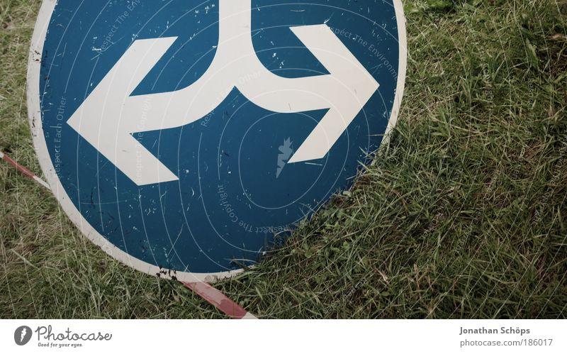 du hast die Wahl blau weiß grün Straße Wiese Gras Schilder & Markierungen Verkehr Kreis Hinweisschild rund Zeichen Pfeil Trennung Barriere Autofahren