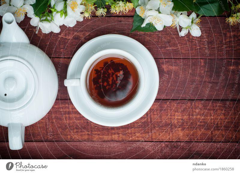 Tasse schwarzer Tee mit einer Teekanne und Jasmin-Filialen Frühstück Getränk Heißgetränk Kaffee Becher Tisch Pflanze Blume Blatt Blüte Holz Blühend frisch heiß