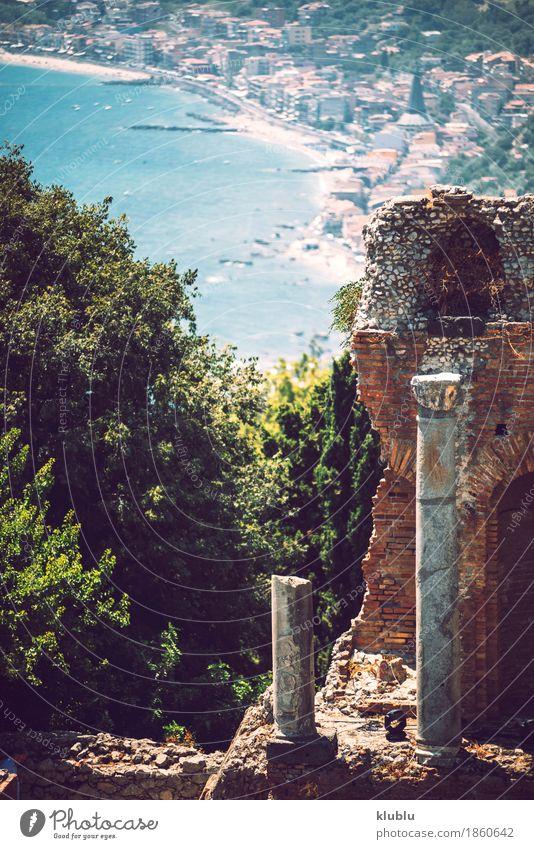 Detailansicht von Taormina, Sizilien, Italien alt Pflanze Stadt Meer Landschaft Haus Berge u. Gebirge Straße Architektur Küste Gebäude Tourismus Aussicht Europa