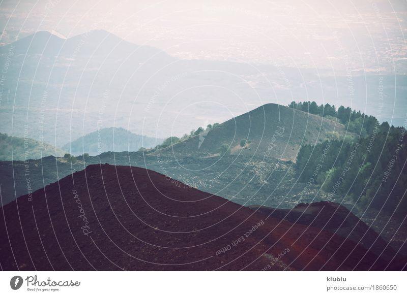 Detail von Vulkan Ätna, Sizilien, Italien anzeigen Natur Ferien & Urlaub & Reisen blau Sommer Landschaft Wolken Berge u. Gebirge schwarz Straße Wege & Pfade