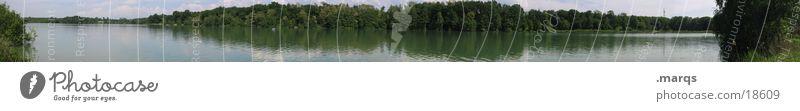 Opfinger See Wasser Baum Sommer ruhig Freizeit & Hobby Weitwinkel