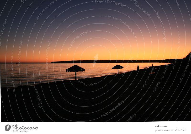 Formentera Migjorn sunset Natur Sonne Meer Sommer Strand Ferien & Urlaub & Reisen ruhig Freiheit Sonnenuntergang Landschaft Wasser Stimmung orange Wellen Küste ästhetisch