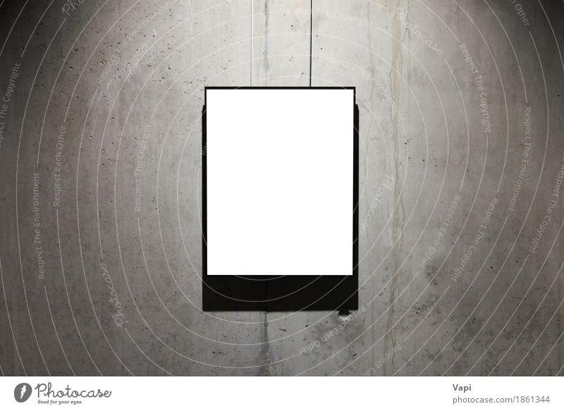 Leerer weißer getrennter Rahmen alt dunkel schwarz Wand Innenarchitektur Mauer Kunst grau Design dreckig Dekoration & Verzierung modern retro Fotografie Papier