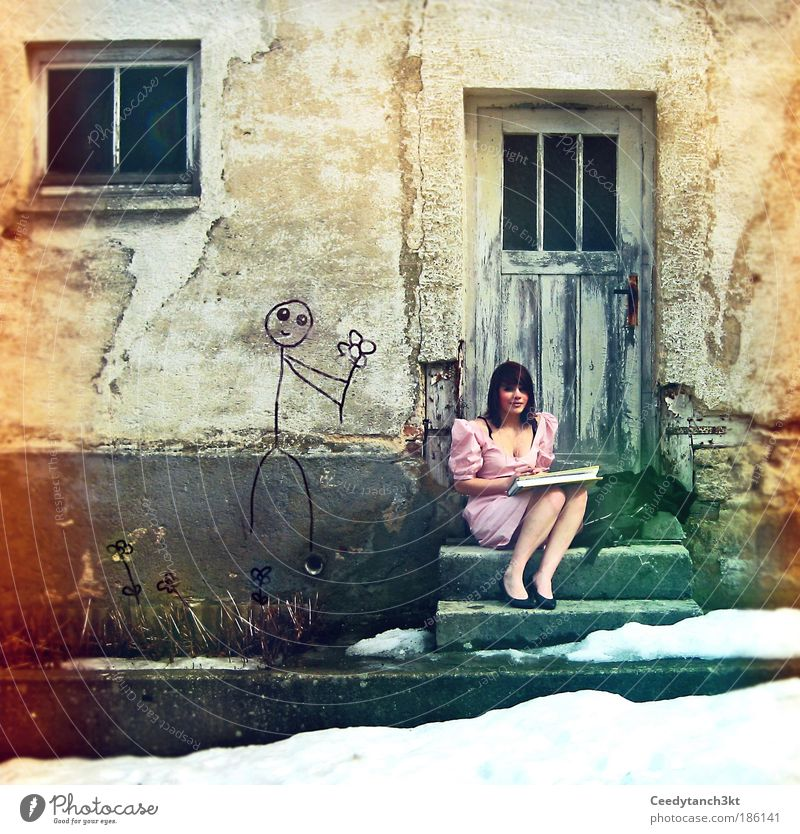 Alice in Wonderland Mensch Jugendliche Freude Gefühle feminin Glück Kunst träumen glänzend Zufriedenheit leuchten elegant Fröhlichkeit Lächeln einzigartig