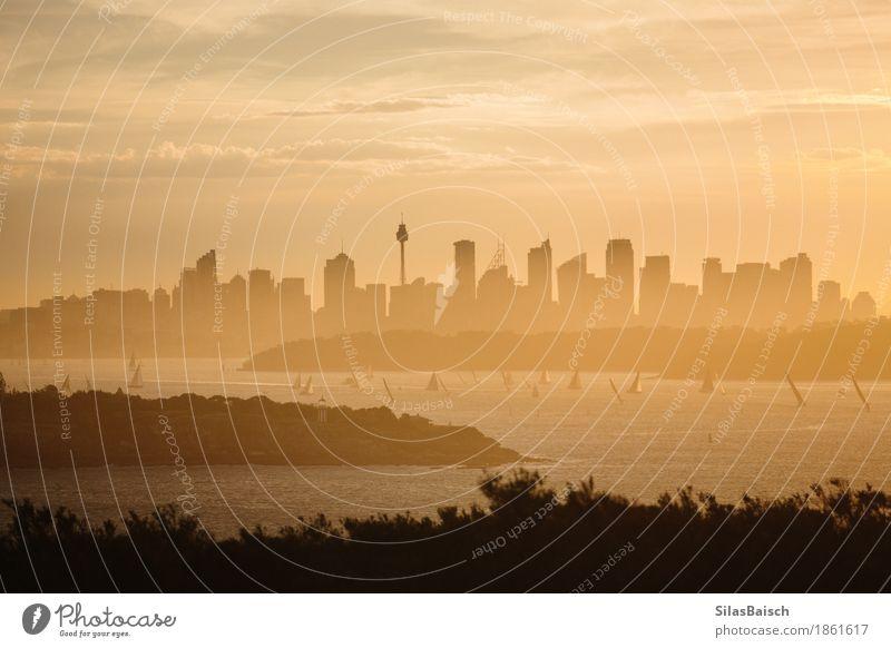 Skyline, die Sonnenuntergang sichern Lifestyle kaufen Natur Landschaft Erde Sonnenaufgang Sommer Stadt Hafenstadt Stadtzentrum bevölkert Hochhaus Bankgebäude