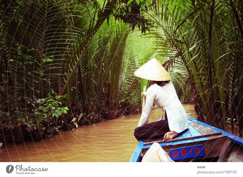 Mekong-Delta Vietnam Vietnamesen Mensch 1 Mekong Delta Palme Wasser Fluss Hut Tourismus Ausflug Wasserfahrzeug Kanal Landschaft Natur Umwelt