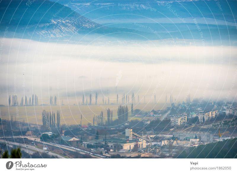 Misty Stadt mit Bäumen und Gebäuden Natur Ferien & Urlaub & Reisen blau Farbe weiß Baum Landschaft Wolken Haus Wald Berge u. Gebirge schwarz Straße Umwelt