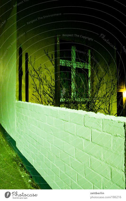 Multi November Mauer Haus Mieter Vermieter Fenster Fensterkreuz Wand Abend Nacht dunkel verdunkeln Sträucher Ast Zweig Hinterhof hinterhaus Tatort Mord Angst