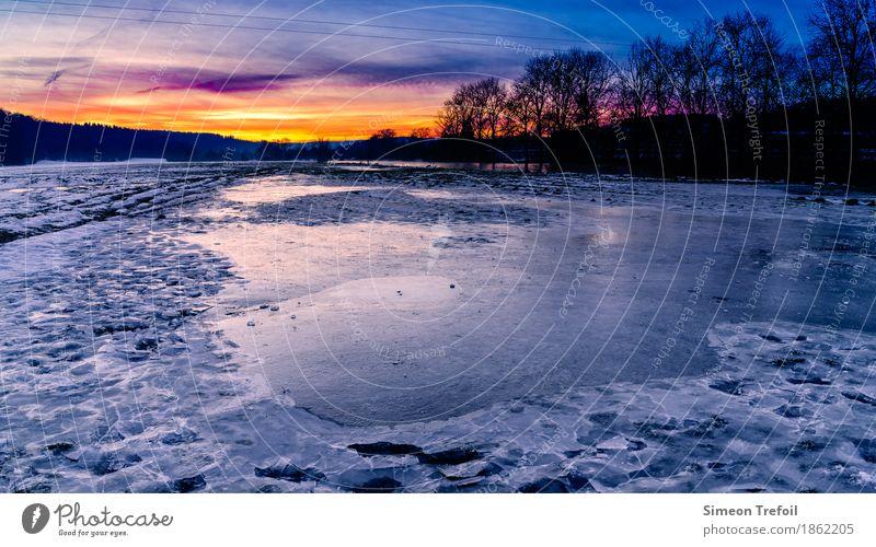 Sonneuntergang an der Sonau Tourismus Ferne Freiheit Winter Schnee wandern Telefon Landschaft Schönes Wetter Eis Frost Baum Unendlichkeit kalt blau gelb rot