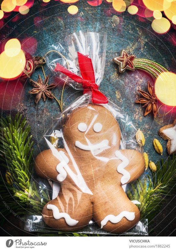 Lebkuchenmännchen , Cellophan verpackt Weihnachten & Advent Freude Winter Stil Feste & Feiern Stimmung Design Häusliches Leben Postkarte Süßwaren Tradition