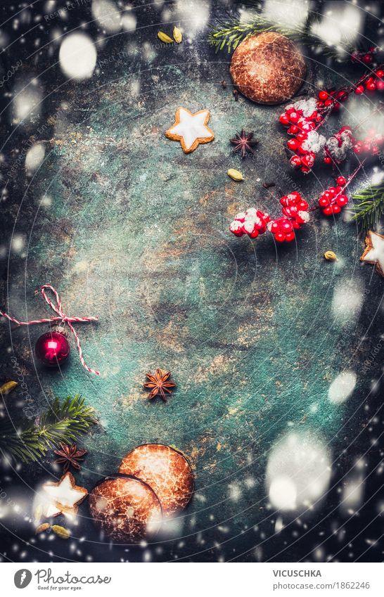 Weihnachten Hintergrund mit Plätzchen, Lebkuchen und Schnee Dessert Süßwaren Stil Design Freude Winter Dekoration & Verzierung Feste & Feiern