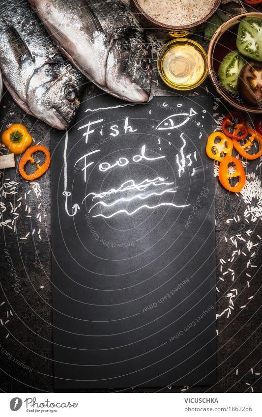 Dorado Fische und gesunde Zutaten Lebensmittel Fleisch Gemüse Getreide Kräuter & Gewürze Öl Ernährung Mittagessen Abendessen Büffet Brunch Festessen Bioprodukte