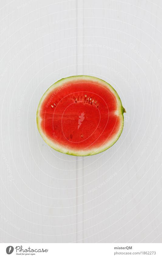 Melone. Kunst ästhetisch Lebensmittel Gesunde Ernährung Melonen rot Teilung Kerne Vor hellem Hintergrund Holztisch Hälfte Vegetarische Ernährung biologisch