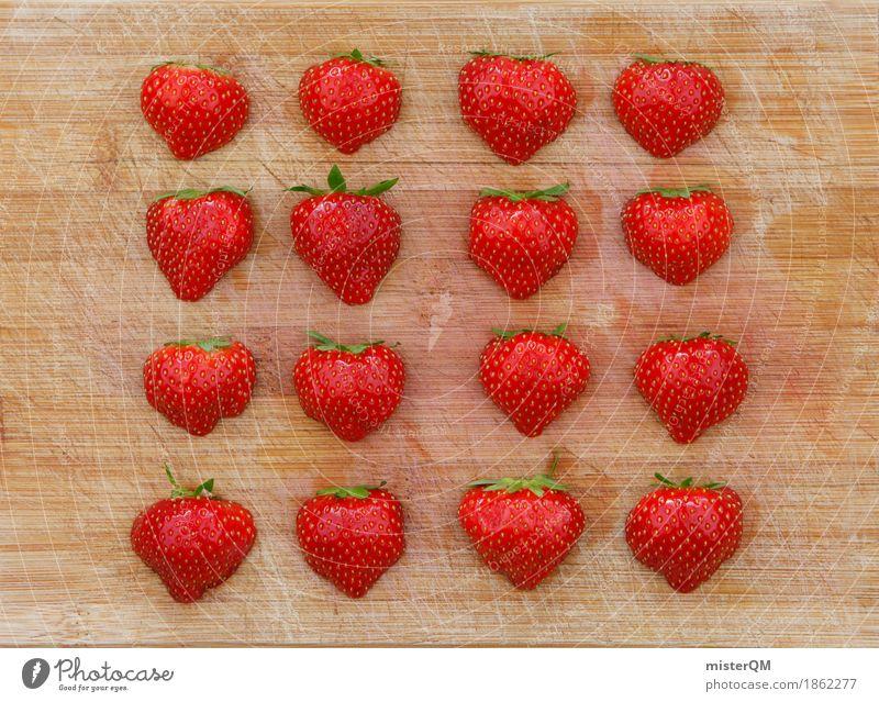 4x4 Erdbeeren I Kunst Kunstwerk ästhetisch Erdbeereis Erdbeermarmelade Erdbeersorten Erdbeerjoghurt Erdbeer Shake Gesunde Ernährung Symmetrie Teilung Muster