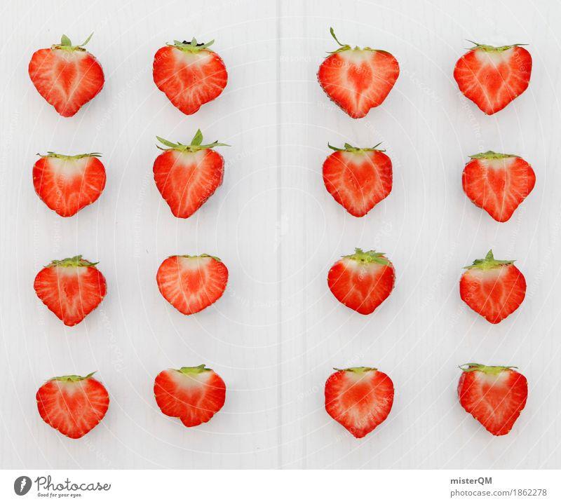 4x4 Erdbeeren II Gesunde Ernährung rot Kunst Design ästhetisch viele Teilung Kunstwerk 16 Erdbeereis Erdbeerblüte Vor hellem Hintergrund Erdbeersorten