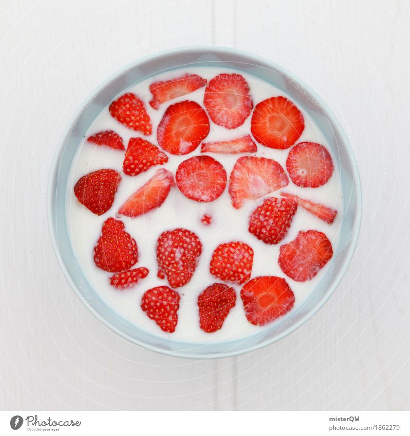 Erdbeerschüssel II Kunst Kunstwerk ästhetisch Erdbeeren Erdbeer Shake Gesunde Ernährung rot viele lecker Frühstück Teilung Vegetarische Ernährung
