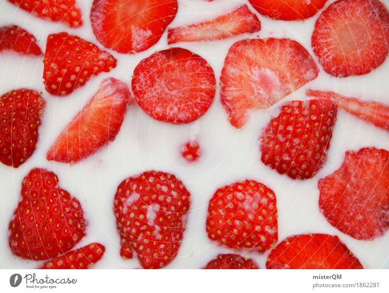 Erdbeerschüssel III Gesunde Ernährung rot Kunst frisch ästhetisch lecker Ernte Bioprodukte Kunstwerk Erdbeeren Milch Müsli Erdbeerjoghurt