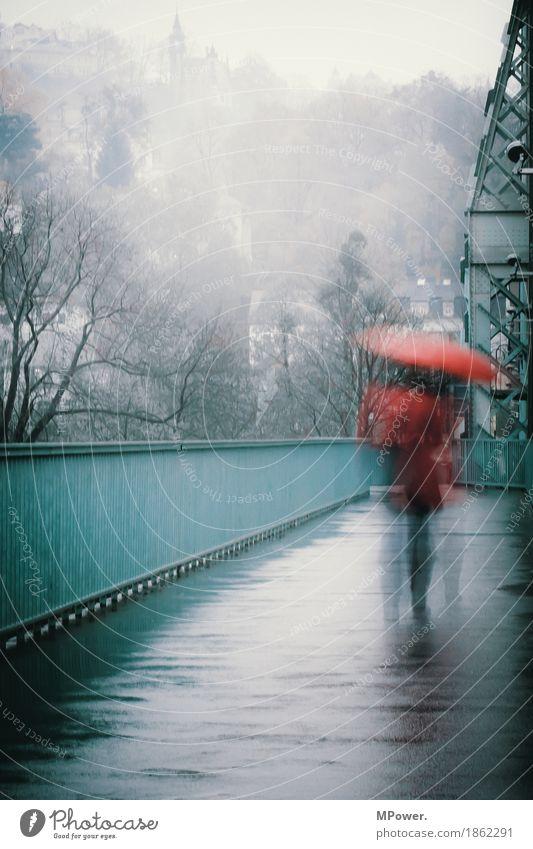 rainday Mensch Frau Erwachsene 1 Stadt Altstadt bevölkert Brücke gehen Regen Regenschirm rot türkis nass Einsamkeit Traurigkeit grau Herbst trist Wetter