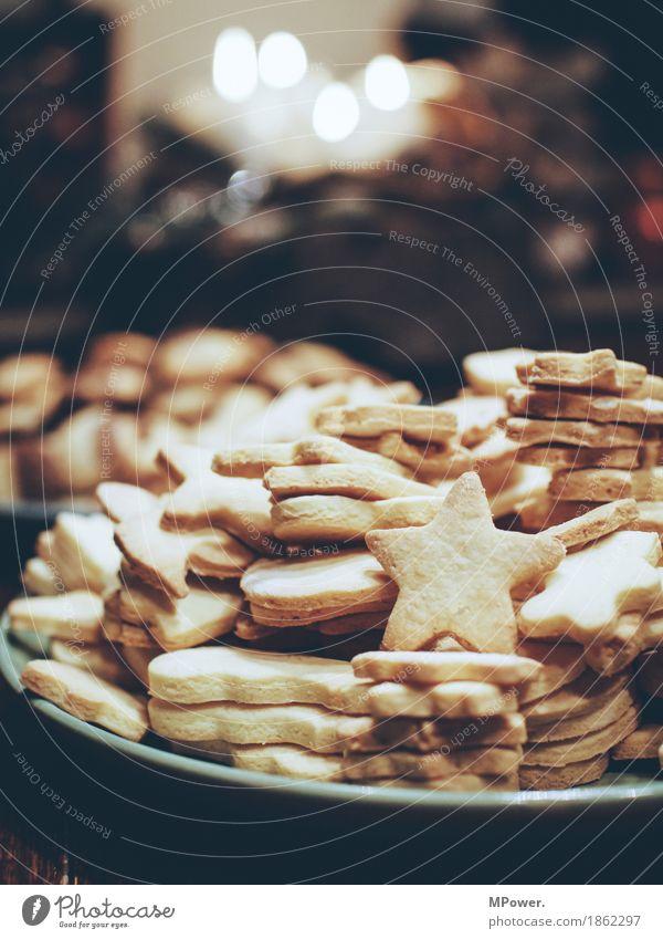 backzeug Lebensmittel Ernährung Bioprodukte Vegetarische Ernährung Fingerfood hell Weihnachten & Advent backen Keks Stern Teller süß Süßwaren lecker Farbfoto