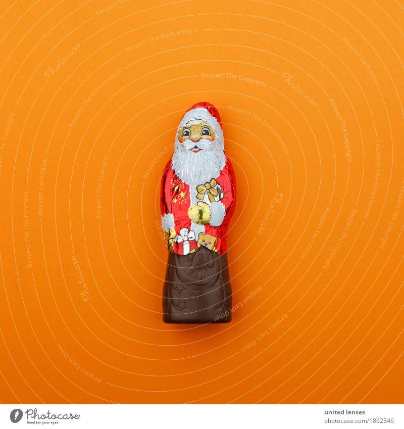 AK# Weihnachtsmann goes Orange Kunst Kunstwerk ästhetisch Weihnachten & Advent Postkarte Schokoladenweihnachtsmann orange rot Konsum konsumgeil knallig