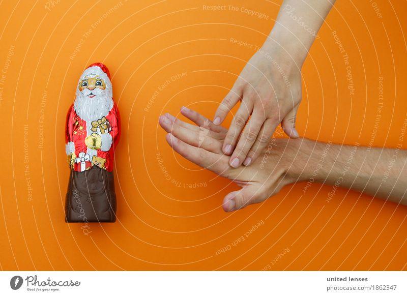 AKCGDR# Hörst du auf! Kunst ästhetisch Weihnachten & Advent Schokoladenweihnachtsmann orange rot Hand Verbote Schmerz Aua Diät Appetit & Hunger Konsum