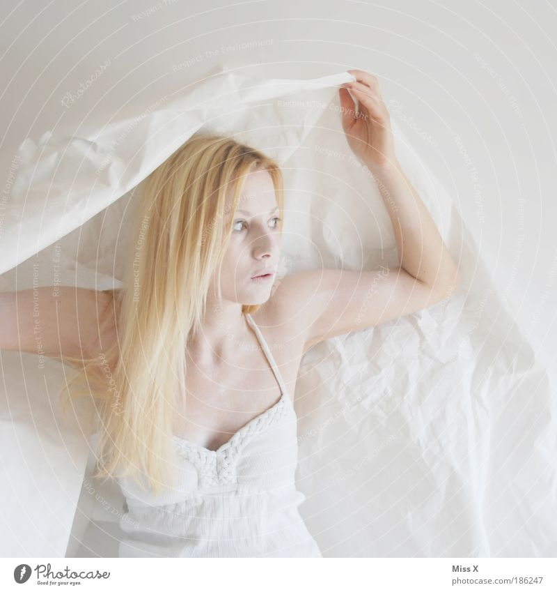 Mensch Jugendliche schön Junge Frau weiß 18-30 Jahre Erwachsene feminin Haare & Frisuren Mode Kopf Stimmung hell träumen blond ästhetisch