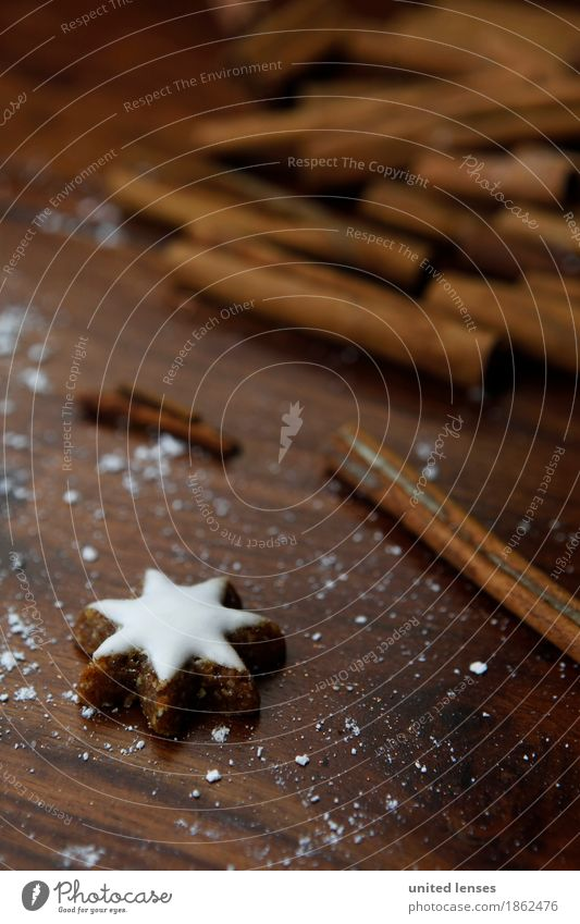 AKCGDR# Zimt+Stern Kunst ästhetisch Zimtstern Postkarte Adventskalender Zucker Weihnachten & Advent lecker braun Stern (Symbol) Farbfoto mehrfarbig