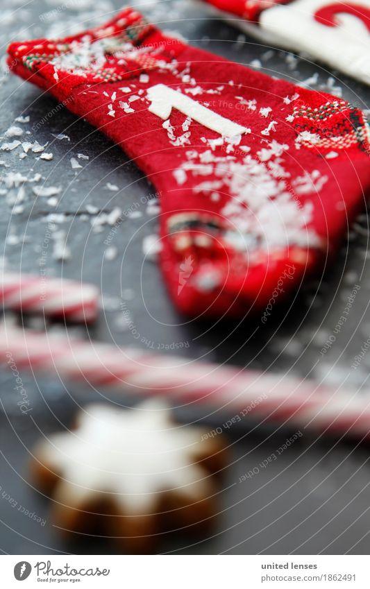 AKCGDR# Weihnachten 1 Kunst Kunstwerk ästhetisch Weihnachten & Advent Strümpfe rot Dezember Schnee Zuckerstange Zimtstern Tafel Vorfreude Adventskalender