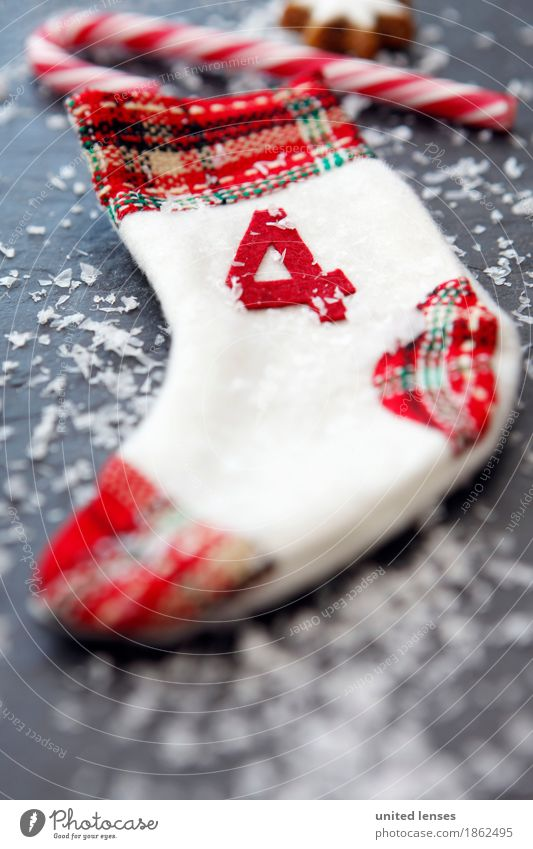 AKCGDR# Weihnachten 4 Kunst ästhetisch Weihnachten & Advent Kalender Adventskalender Schnee Zuckerstange Zimtstern rot Strümpfe Dekoration & Verzierung Farbfoto