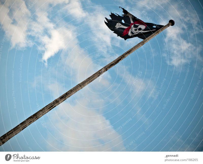 Piratenpartei im Aufwind Himmel Luftverkehr Fahne Mensch Fahnenmast Schädel