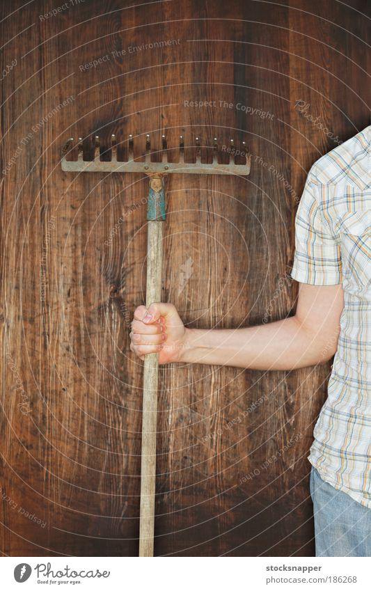 Mann Hand alt Sommer Wand Garten Werkzeug Arbeit & Erwerbstätigkeit greifen Gartenarbeit unkenntlich Rechen Harke