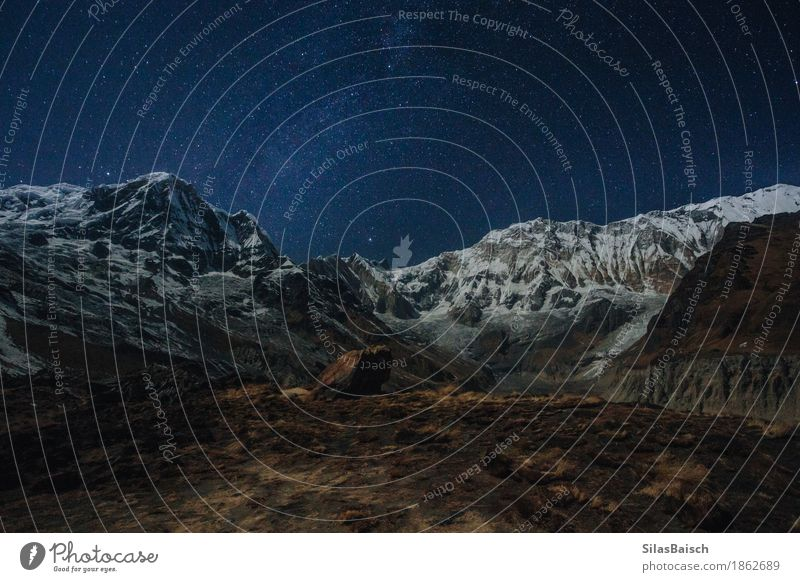 Der Himalaya in der Nacht Ferien & Urlaub & Reisen Abenteuer Ferne Expedition Berge u. Gebirge wandern Natur Landschaft Erde Wolkenloser Himmel Nachthimmel