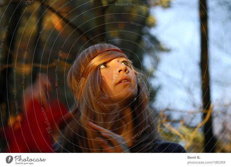 there's a light Jugendliche Himmel Baum Gesicht Wald feminin Gefühle Mensch Haare & Frisuren blond Porträt Blick nach oben Schmuck Kindheit langhaarig Vorfreude