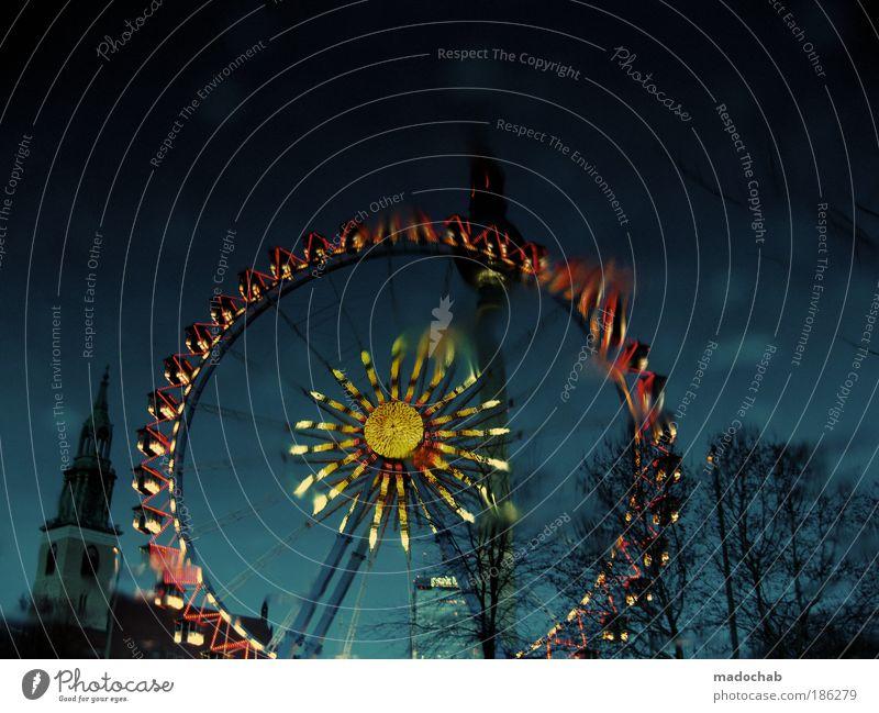 Glücksrad Stil Feste & Feiern Jahrmarkt Kultur Riesenrad Farbfoto mehrfarbig Außenaufnahme Menschenleer Textfreiraum oben Abend Dämmerung Nacht Licht