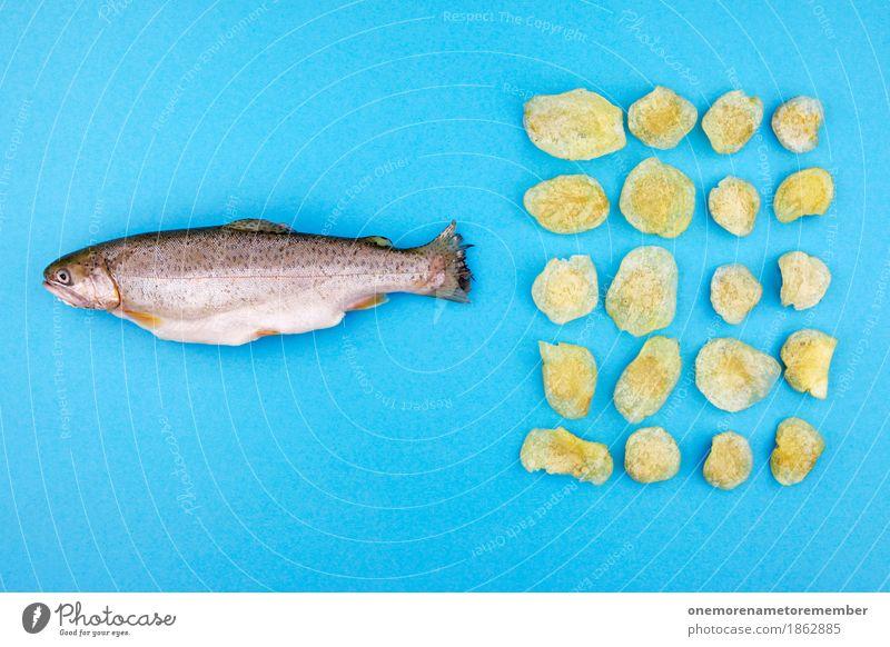Fish'n'Chips'n'Stuff blau gelb lustig Kunst Design Ernährung Dekoration & Verzierung ästhetisch Kreativität Fisch Kunstwerk Fischereiwirtschaft 20 gestalten