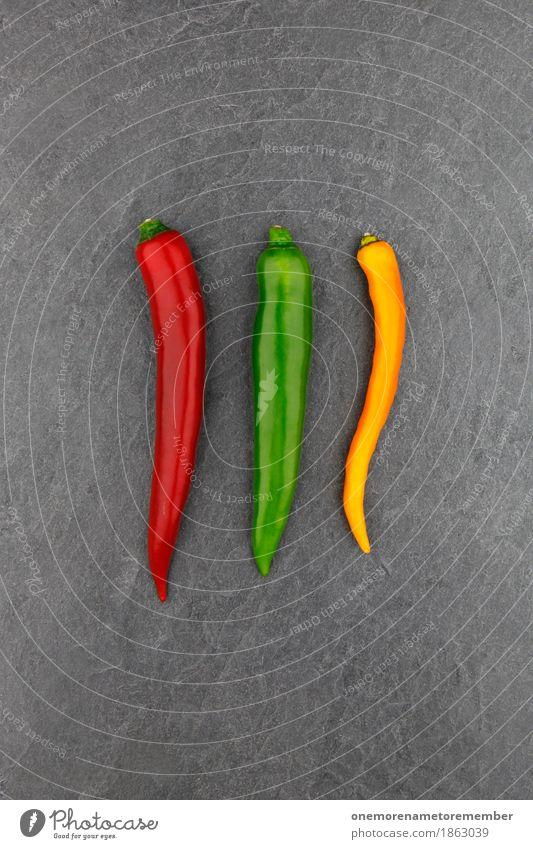 3 Chili Kunst Kunstwerk ästhetisch Scharfer Geschmack rot grün gelb Schiefer Gemüse Kräuter & Gewürze Foodfotografie Farbfoto mehrfarbig Innenaufnahme