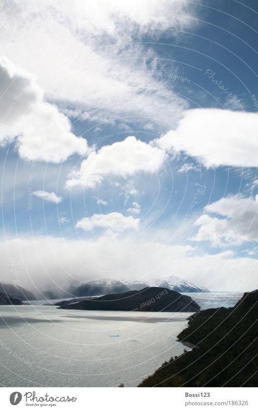 Patagonien01 Ferien & Urlaub & Reisen Ferne Freiheit Natur Landschaft Wasser Himmel Wolken Sommer Wetter Wind Berge u. Gebirge Gipfel Schneebedeckte Gipfel