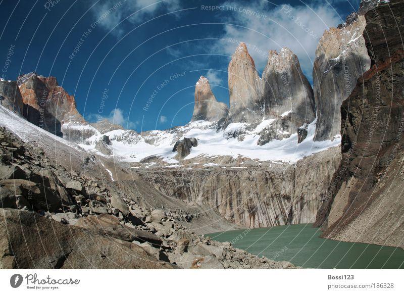 Patagonien02 Himmel Natur Wasser blau Sommer Wolken Landschaft Umwelt grau See braun Felsen Sehnsucht Gipfel Mut Seeufer