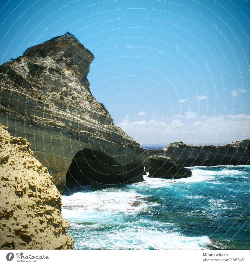 Kap Corse Ferien & Urlaub & Reisen Tourismus Ferne Sommer Sommerurlaub Meer Wellen Natur Landschaft Wasser Himmel Wind Felsen Küste Bucht Insel blau standhaft