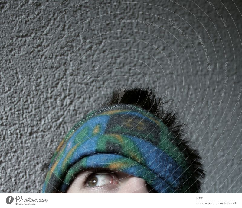 Oder doch..? Einsamkeit Erwachsene Auge grau Kopf Angst Hoffnung Neugier 18-30 Jahre Sehnsucht Glaube Zukunftsangst Spannung Interesse Junger Mann Blick