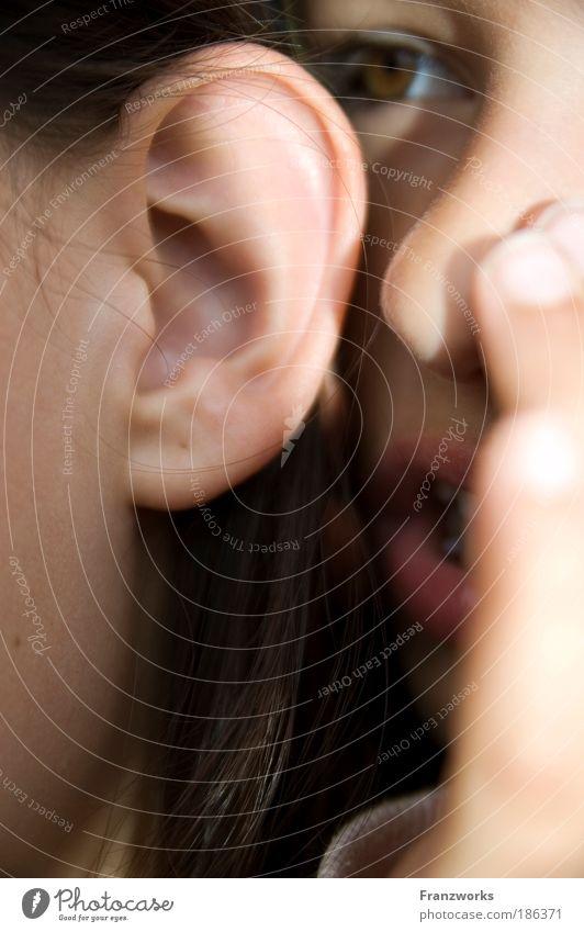 Flüsterei Mensch Kind Familie & Verwandtschaft feminin sprechen Gefühle träumen Denken Freundschaft Zusammensein Kindheit Ohr Kommunizieren Warmherzigkeit nah